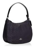 COACH 73185 Signature Nylon Zip Shoulder Bag Black