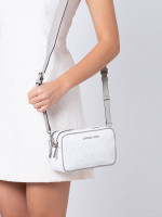 MICHAEL KORS Connie Monogram Small Camera Bag Bright White