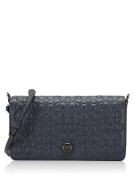 COACH 30427 Signature Embossed Leather Dinky Crossbody Midnight Navy