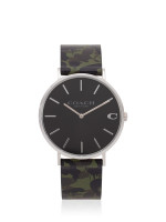 COACH Men 14602154 Charles Leather Strap Camo Green