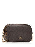COACH 35083 Signature Leopard Mixed Isla Crossbody Brown Multi