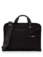 TUMI Men Slim Zip Top Briefcase Bag Black