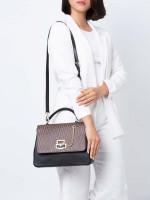 AIGNER Isabella Signature Leather Top Handle Satchel Black Fango
