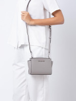 MICHAEL KORS Selma Leather Mini Messenger Pearl Grey
