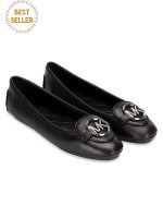 MICHAEL KORS Lillie Leather Flats Black Silver Sz 9