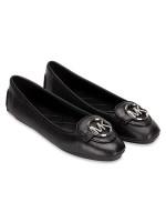 MICHAEL KORS Lillie Leather Flats Black Silver Sz 9.5