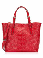 TOD'S Patent Embossed Leather Convertible Tote Burgundy