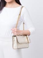 TORY BURCH Fleming Metallic Small Convertible Shoulder Bag Gold