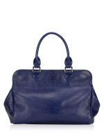 LONGCHAMP Gatsby Exotic Leather Satchel Blue