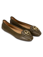 MICHAEL KORS Lillie Leather Flats Olive Sz 9