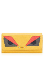 FENDI Vitello Elite Monster Continental Wallet Yellow