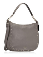COACH 37810 Lacquer Rivets Pebbled Elle Hobo Heather Grey