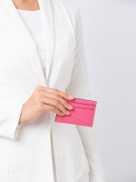 COACH 57312 Crossgrain Leather Card Case Pink Ruby