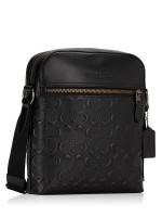 COACH Men 73338 Houston Embossed Leather Flight Bag Black