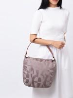 AIGNER Signature Print Nylon Shoulder Bag Grey