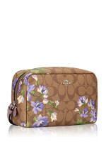 COACH 73365 Signature Lily Cosmetic Case 20 Khaki Purple Multi