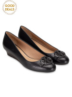 TORY BURCH Miller Leather Wedges Black Sz 7.5