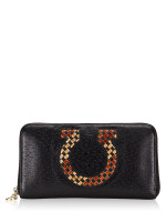 SALVATORE FERRAGAMO Gancini Leather Zip Wallet Black