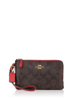 COACH 87591 Signature Double Zip Wristlet Brown Ruby