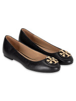 TORY BURCH Claire Tumbled Leather Flat Perfect Black Sz 7