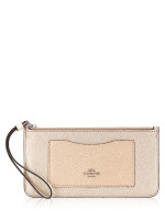 COACH 67541 Metallic Colorblock Zip Wallet Chalk Multi