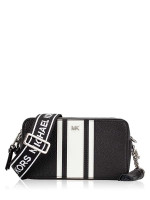 MICHAEL KORS Small Striped Leather Camera Bag Black Optic White