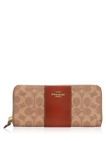 COACH 42074 Colorblock Coated Canvas Slim Wallet Tan Rust
