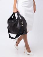 FURLA Elisabeth Snake Embossed Leather Hobo Bag Onyx