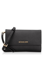 MICHAEL KORS Jet Set Travel 3 In 1 Wristlet Clutch Crossbody Black