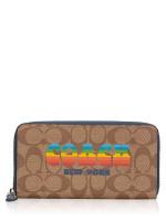 COACH 73510 Signature Ani Zip Wallet Khaki Multi