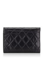 CHANEL Calfskin Quilted Cambon Flap Wallet Black