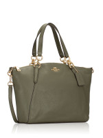 COACH 28993 Pebbled Leather Small Kelsey Military Green