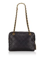 CHANEL Vintage Lambskin Classic Flap Camera Bag Black