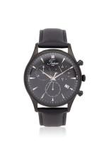 TEIWE Men TW99239G-B02 Chronograph Leather Strap Black