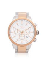 TEIWE Men TWC-18012 Gent Chronograph Stainless Silver Rosegold