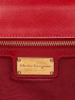 SALVATORE FERRAGAMO Ginny Vara Medium Leather Crossbody Black Red