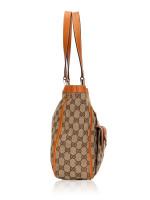 GUCCI Canvas Abbey Pocket Tote Bag Orange
