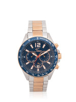 TEIWE Men TWC-18042 Chronograph Stainless Silver Rosegold