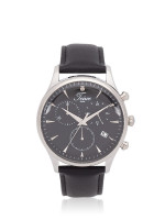 TEIWE Men TW99239G-B01 Gent Chronograph Leather Strap Black