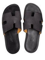 HERMES Izmir Python Leather Sandals Black Sz 40