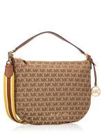 MICHAEL KORS Bedford Signature Medium Crescent Shoulder Bag Beige Ebony