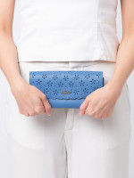 COACH 39997 Floral Perforated Slim Envelope Wallet Sky Blue