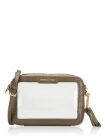 MICHAEL KORS Ginny Medium Clear and Leather Crossbody Olive