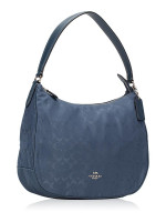 COACH 73185 Signature Nylon Zip Shoulder Bag Blue