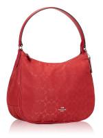 COACH 73185 Signature Nylon Zip Shoulder Bag True Red
