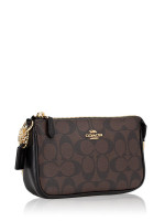 COACH 64234 Signature Large Wristlet 19 Brown Black