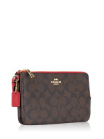 COACH 16109 Signature Double Zip Wallet Brown Ruby
