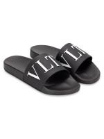 VALENTINO Men Logo Slide Sandal Black Sz 41