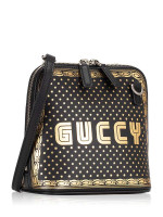GUCCI Sega® Moon and Star Leather Crossbody Black Gold