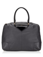 FURLA Nikia Medium Leather Tote Grey Black